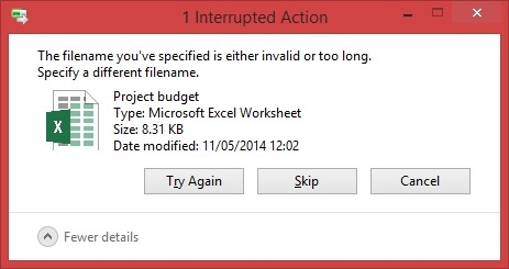 filename invalid too long specify different name excel sharepoint