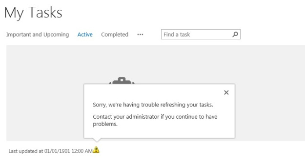 SharePoint 2013 task list Trouble refreshing your tasks
