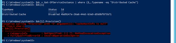 distributed cache ping powershell provision error