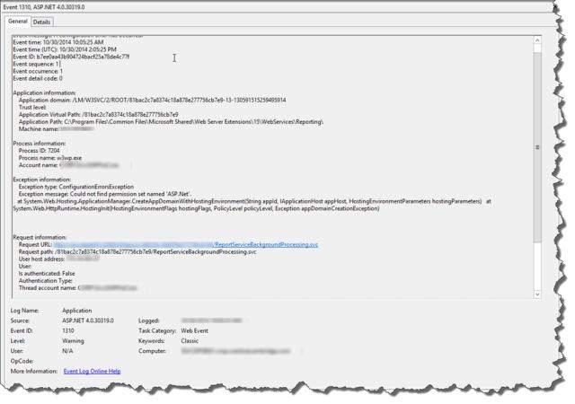 event viewer error message