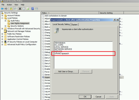 Impersonate client authentication properties securitypolicy