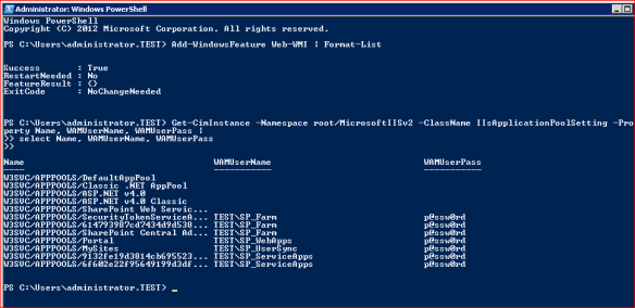 powershell app pool account
